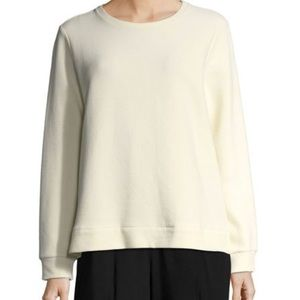 Eileen Fisher ivory ribbed long sleeve knit top